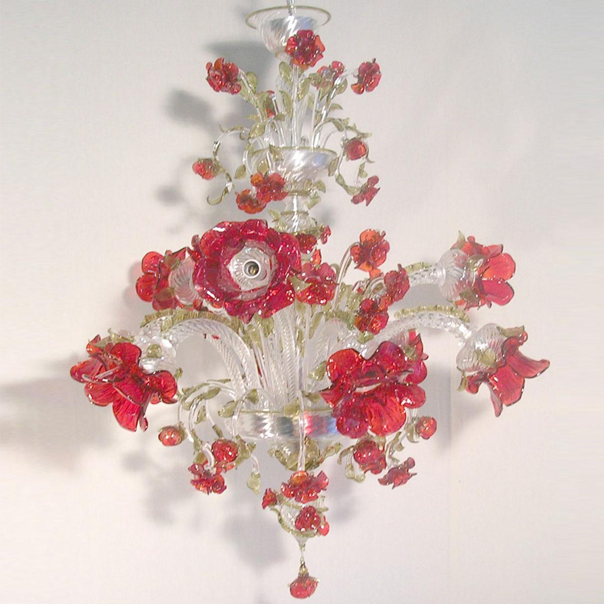 """Roseto Rosso"" lampara de araña de Murano - 9 luces - transparente y rojo"