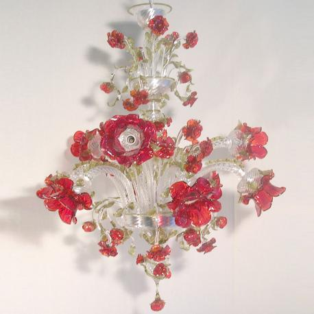 """""""Roseto Rosso"""" Murano glass chandelier - 9 lights - transparent and red"""