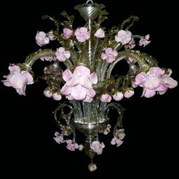 """Boccioli"" Murano glass chandelier - 8 lights - transparent"