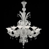 Paradiso 12 lights Murano chandelier - white silver color