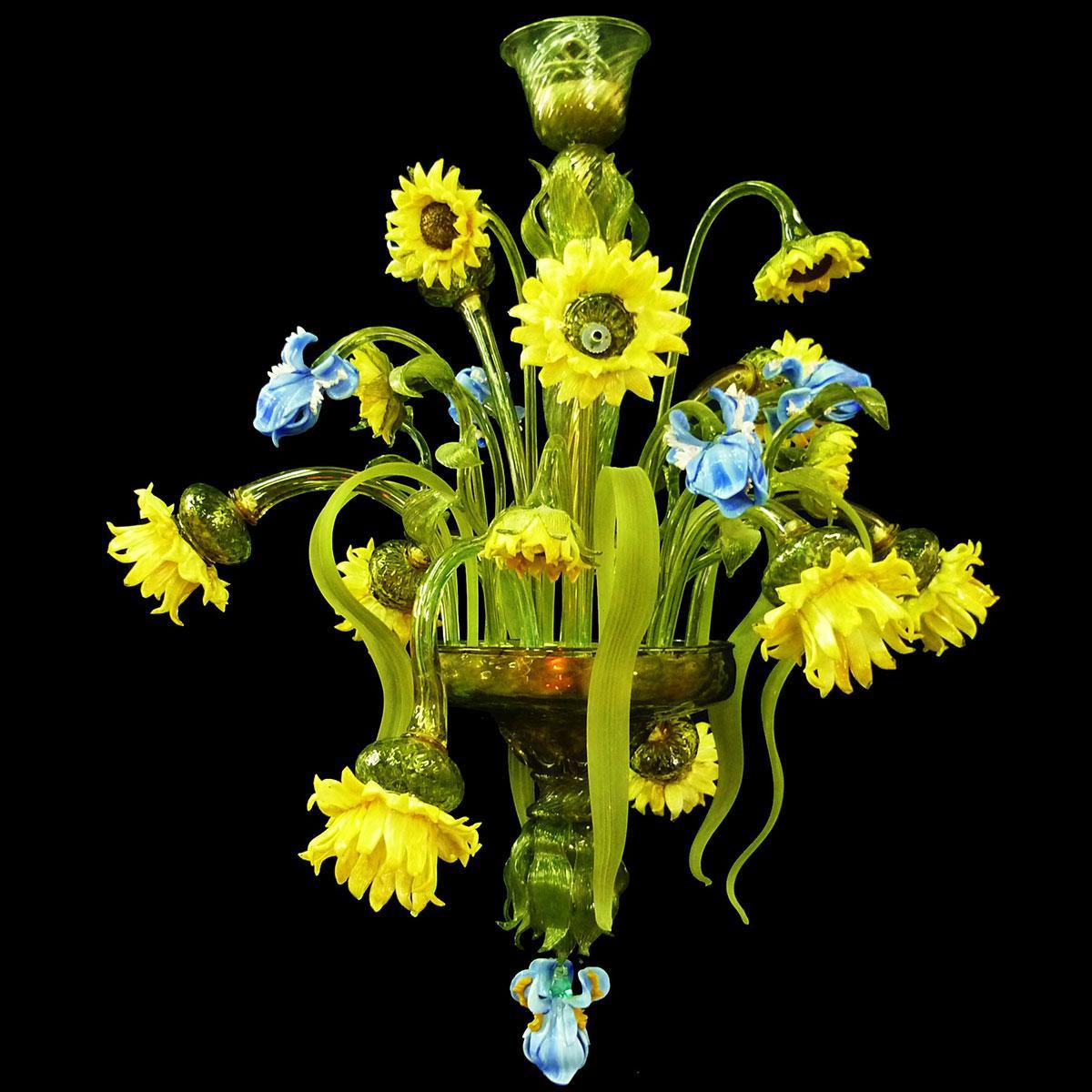"""Bouquet"" Murano glass chandelier - 9 lights - multicolor"
