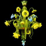 """Bouquet"" Murano glass chandelier - 9 lights - multicolor"