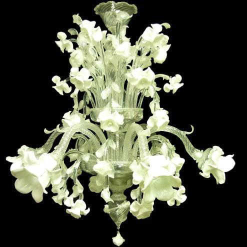 """Biancaspina"" lustre en cristal de Murano - 6 lumières - blanc"