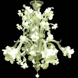 """Biancaspina"" Murano glass chandelier - 6 lights - white"