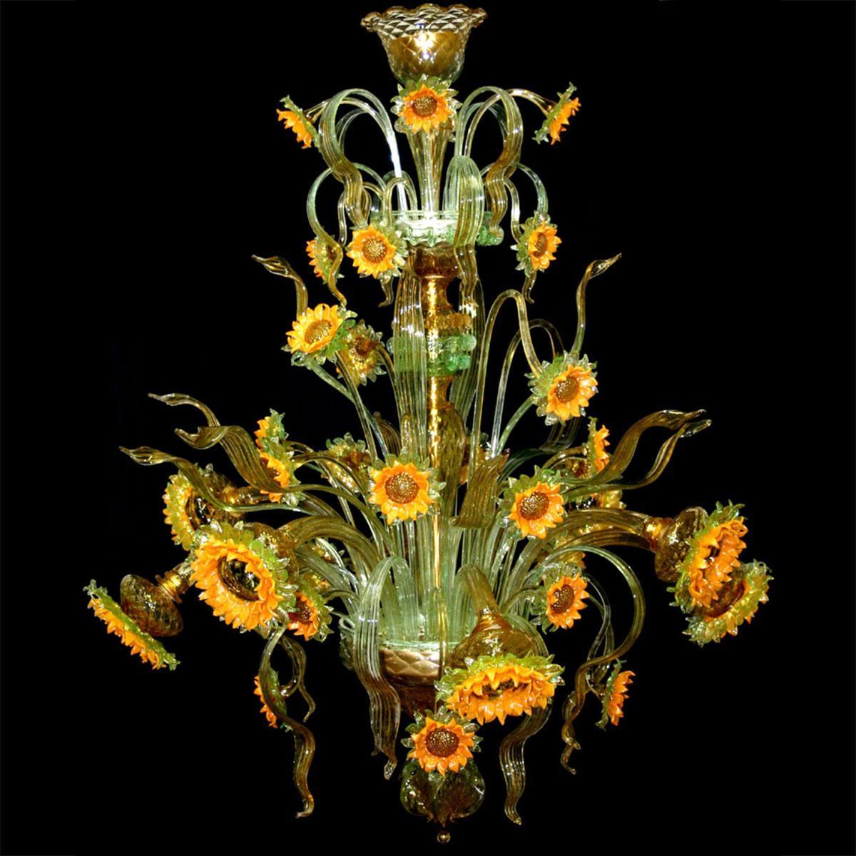 """Girasoli di Van Gogh"" lustre en cristal de Murano - 8 lumières - tournesol jaune"