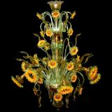 """Girasoli di Van Gogh"" Murano glass chandelier - 8 lights - sunflowers yellow"