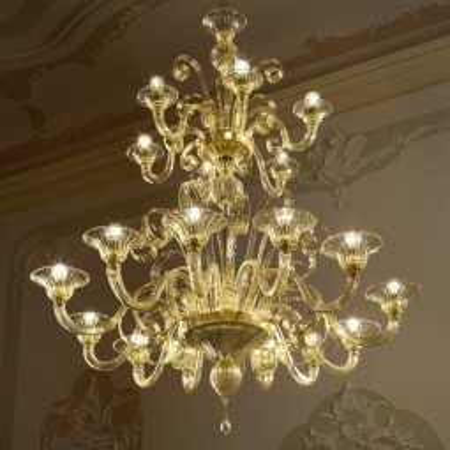"""""""Goldoni"""" araña de cristal de Murano a dos niveles"""