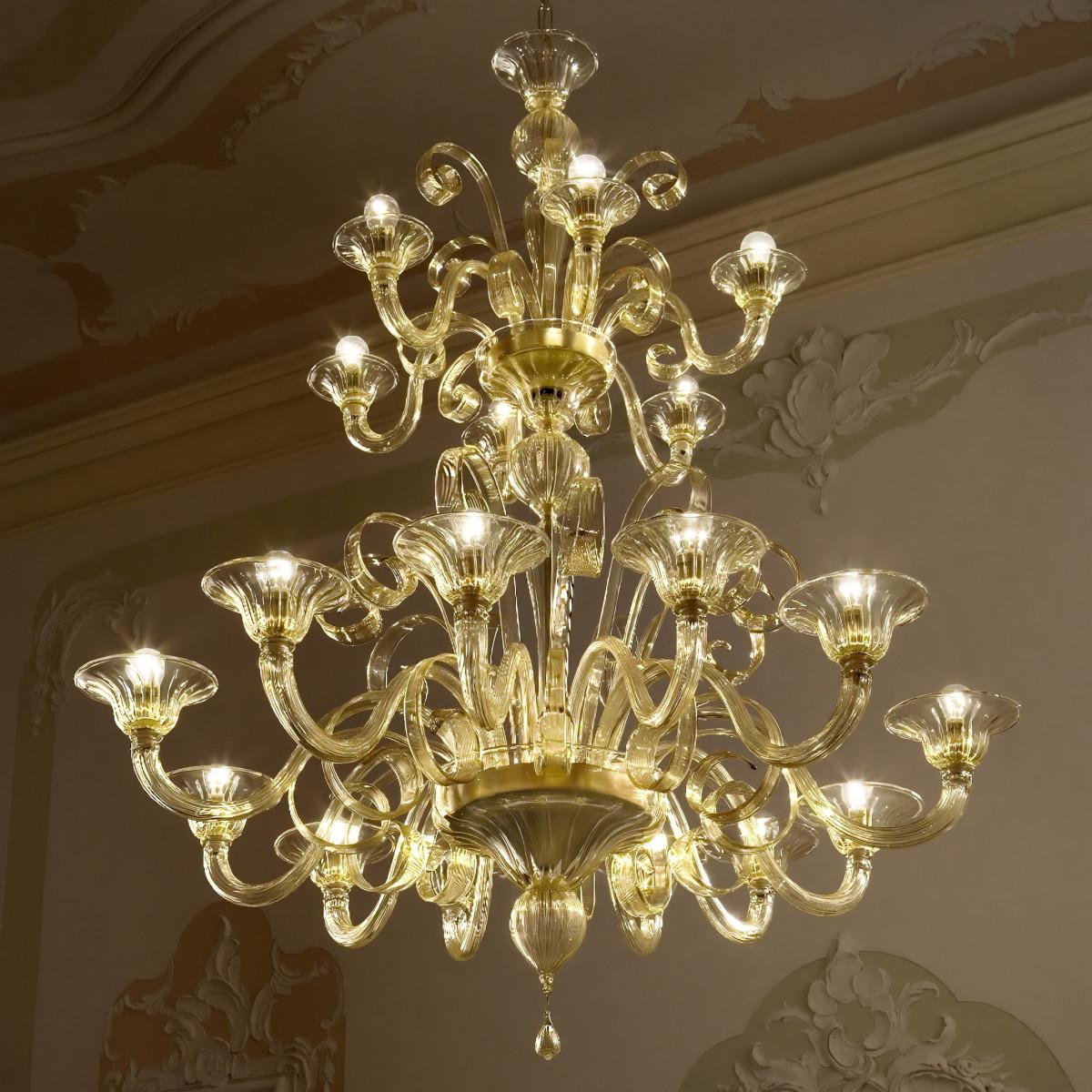 Goldoni 2 etages 12+6 lumieres lustre de Murano - couleur ambre