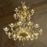 Goldoni 2 tier 12+6 lights Murano chandelier - amber color