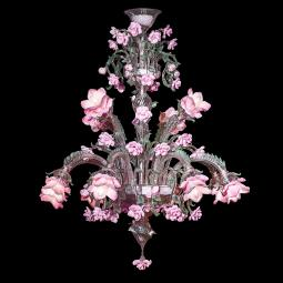 """Rosae"" Murano glass chandelier - 12 lights - pink"
