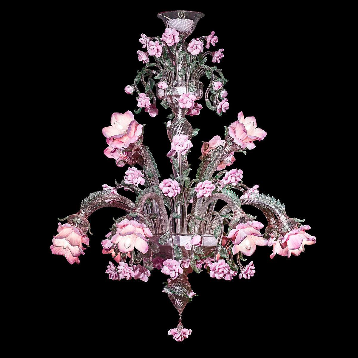 """""""Rosae"""" lustre en cristal de Murano - 12 lumières - rose"""