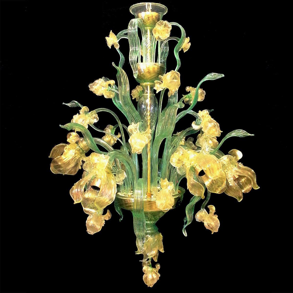 """""""Fiore d'acqua"""" lustre en cristal de Murano - 6 lumières - vert et or"""
