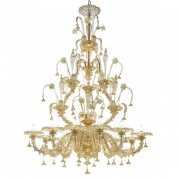 Magnifico 12 lights Murano chandelier entirely gold color