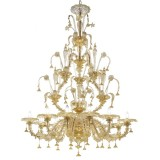 Magnifico 12 lights Murano chandelier - entirely gold color