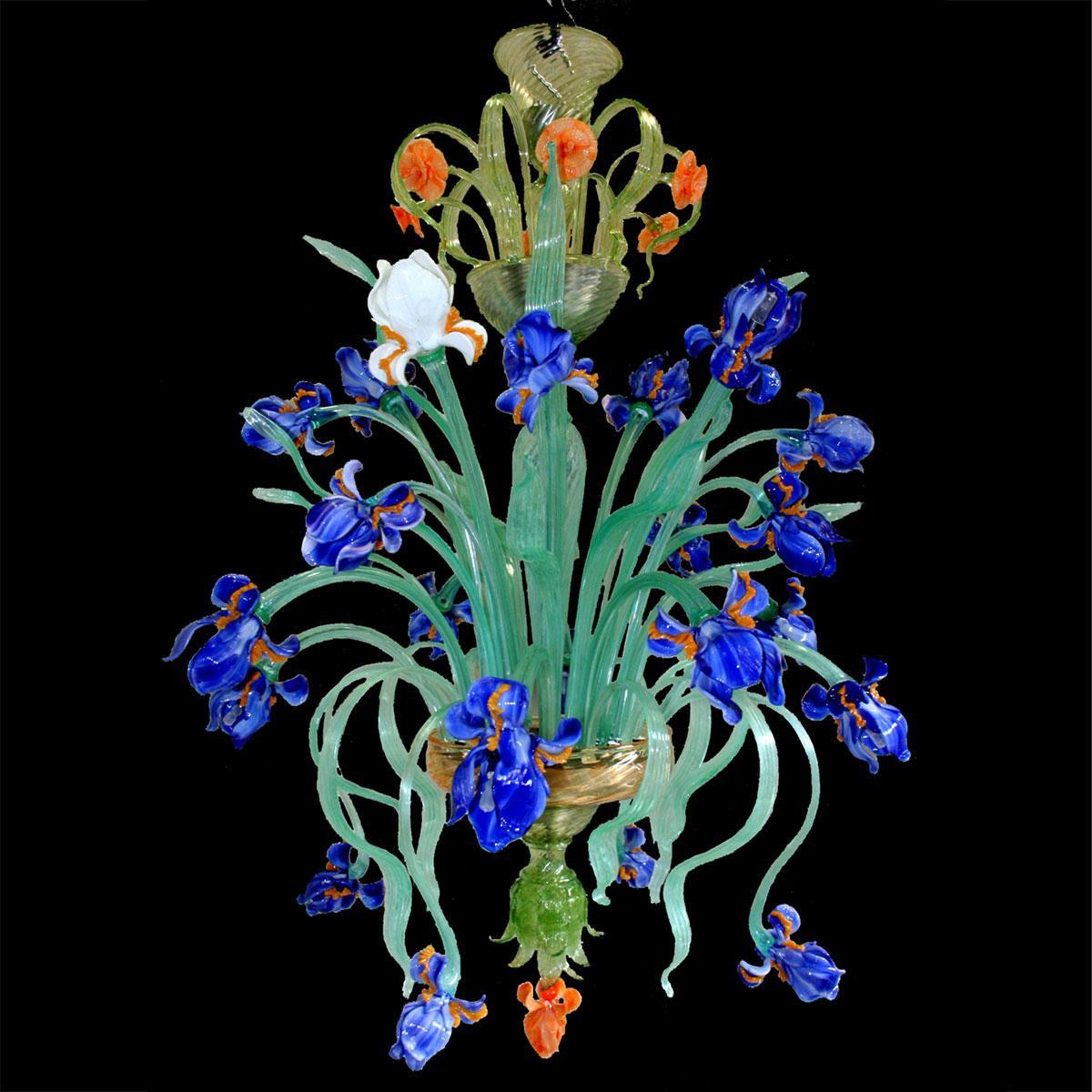 """""""Campo di Iris"""" lustre en cristal de Murano - 12 lumières - bleu"""