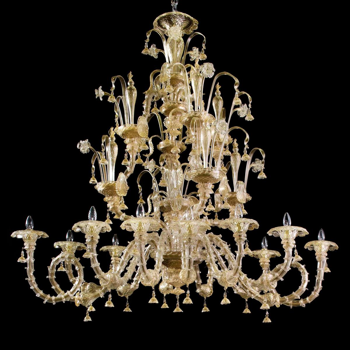 Magnifico 12 luces araña de Murano - forma oval - color oro