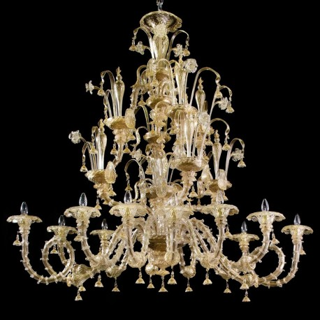 Magnifico 12 lights Murano chandelier - oval shape - gold color