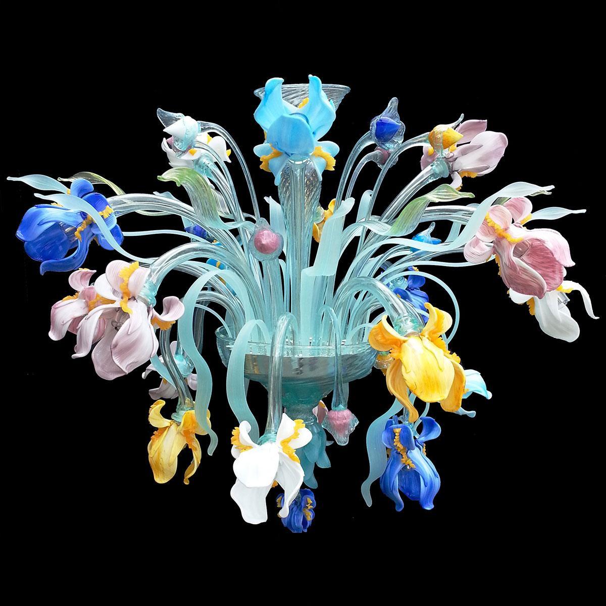 """Iris colorati"" Murano glass ceiling light - 16 lights - multicolor"