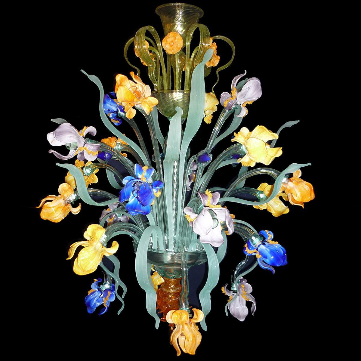 """Iris di Van Gogh"" Murano glass chandelier - 24 lights - multicolor"