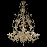 Magnifico 2 tier 12+3 lights Murano chandelier entirely gold color