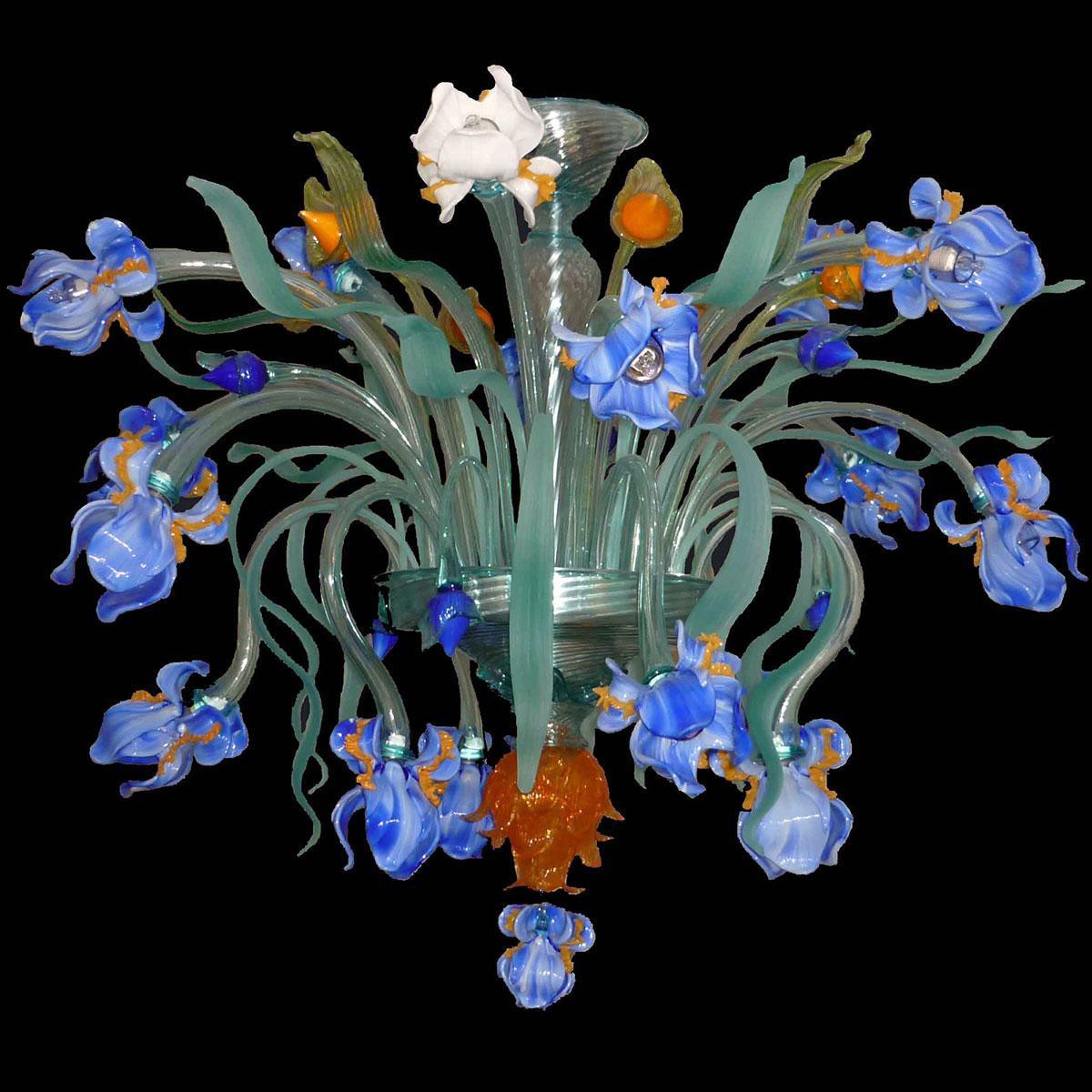"""""""Iris di Luce"""" plafonnier en verre de Murano  - 16 lumières - bleu"""