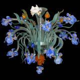 """Iris di Luce"" Murano glass ceiling light - 16 lights - blue"