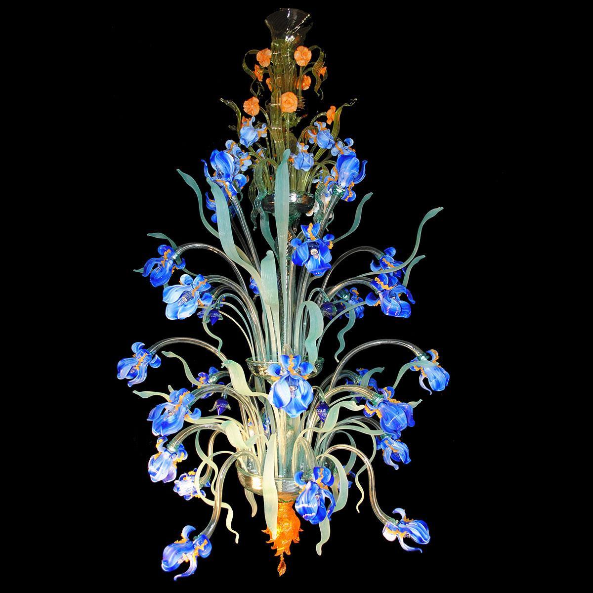 """Iris Blu"" araña grande de cristal de Murano - 24 luces - azul"