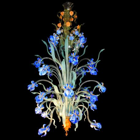 """Iris Blu"" large Murano glass chandelier - 24 lights - blue"