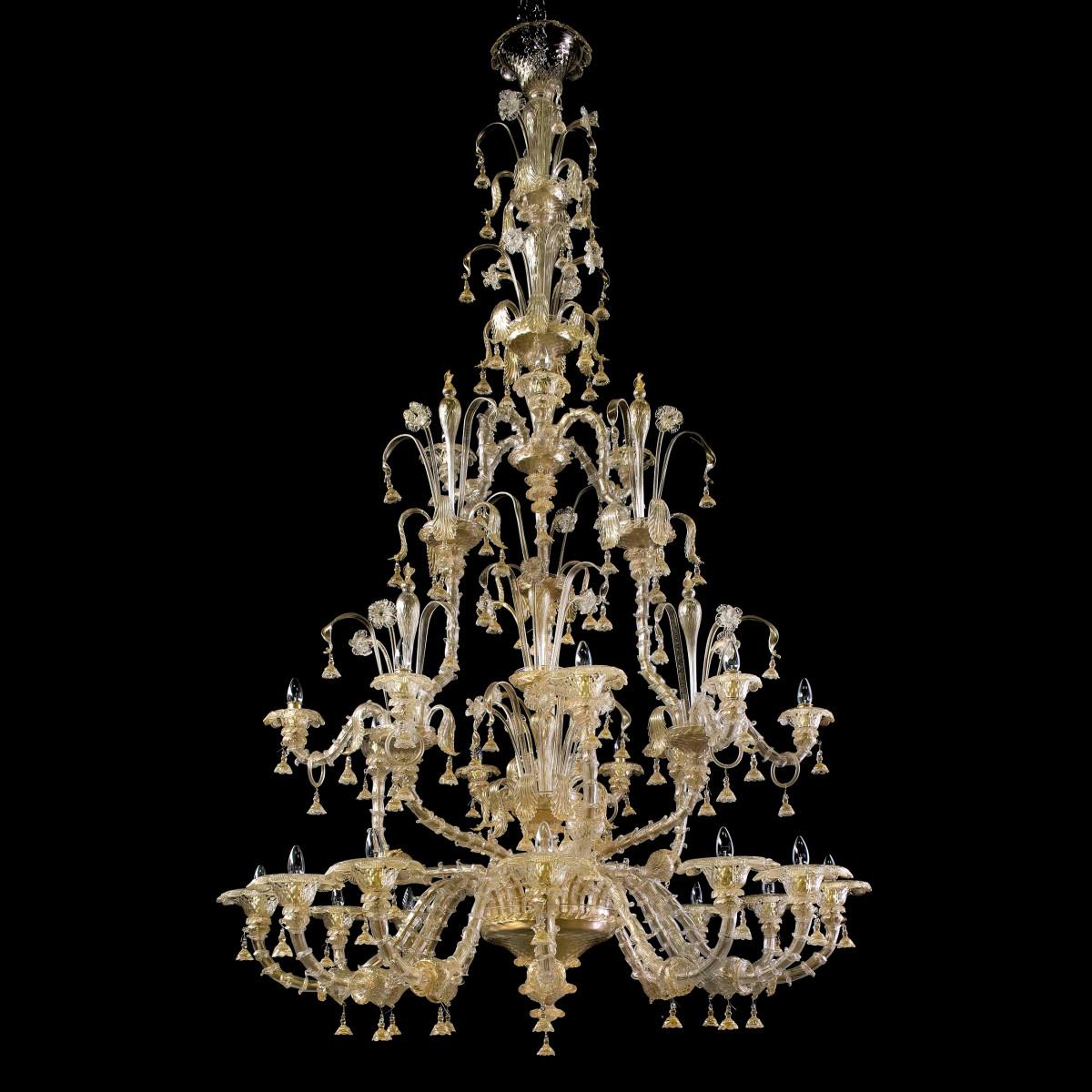 Magnifico 4 niveaux 12 +3 +6 +3 feux de Murano chandelier avec des crêtes double