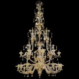 Magnifico 4 tiers 12+3+6+3 lights Murano chandelier with double crests