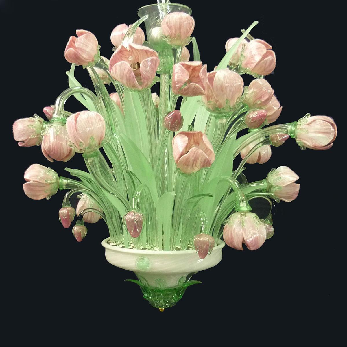 """Tulipani"" Murano glas Kronleuchter - 16 flammig - rosa"