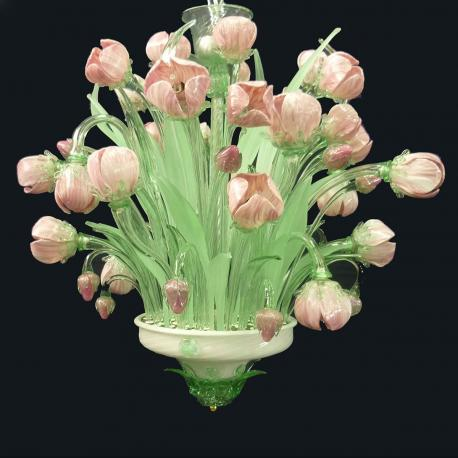 """Tulipani"" Murano glass chandelier - 16 lights - pink"