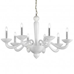 Semplice 8 lights Murano chandelier white silver