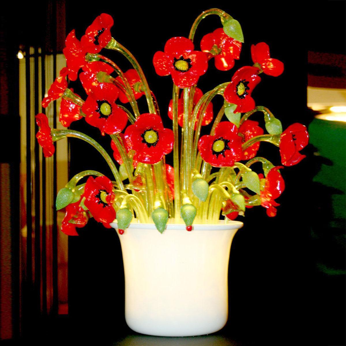 """Vaso di Papaveri"" lampara de sobremesa de Murano - 1 luce - rojo"