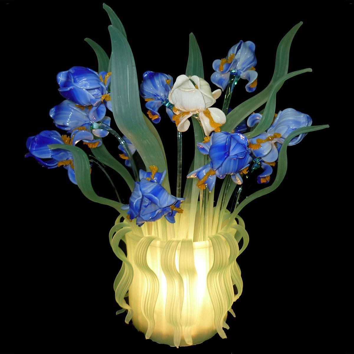 """Iris Blu"" lampe de table en verre de Murano - 1 lumière - bleu"