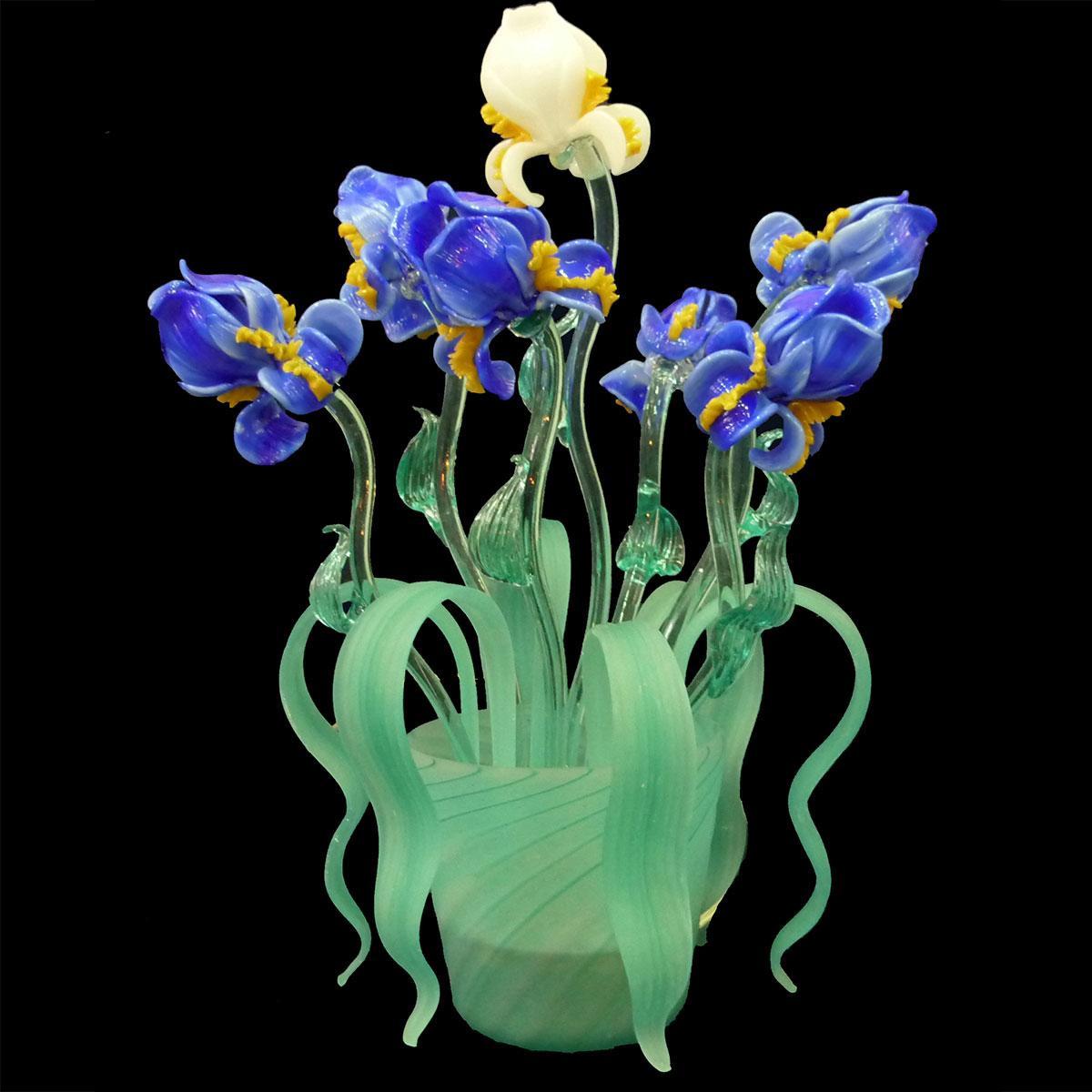 """Iris Blu"" Murano glass bedside lamp - 2 lights - blue"