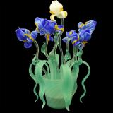 """Iris Blu"" Murano glass bedside lamp - 2 lights - blue"