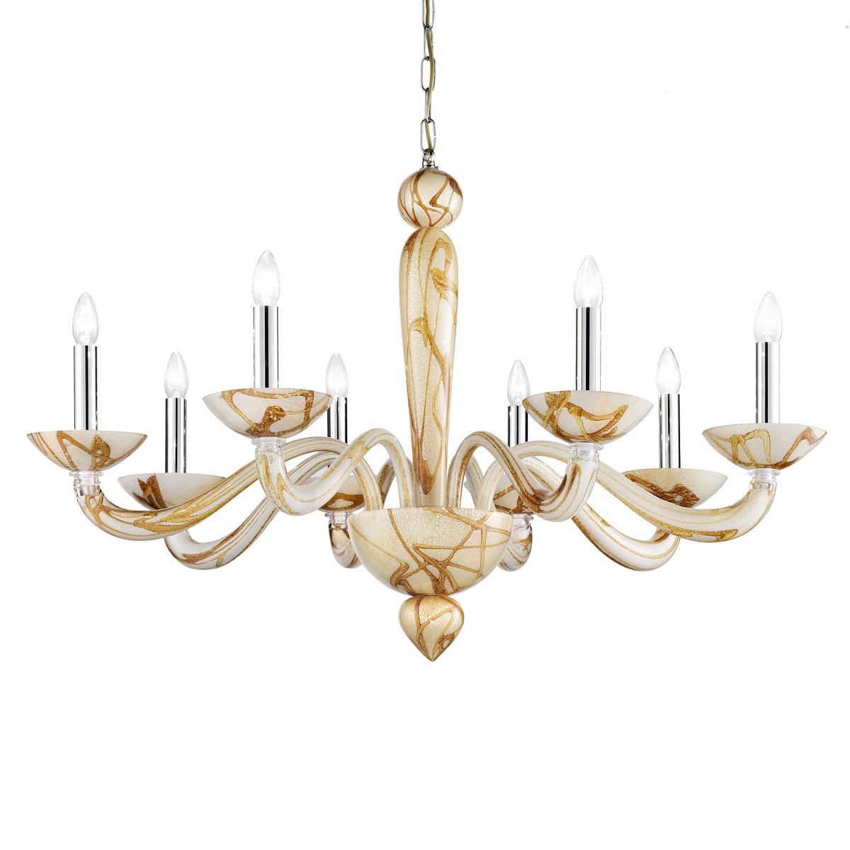 Semplice lampara de cristal de Murano 8 luces - color bambú