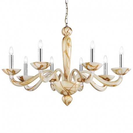 Semplice 8 lights Murano chandelier - bamboo color