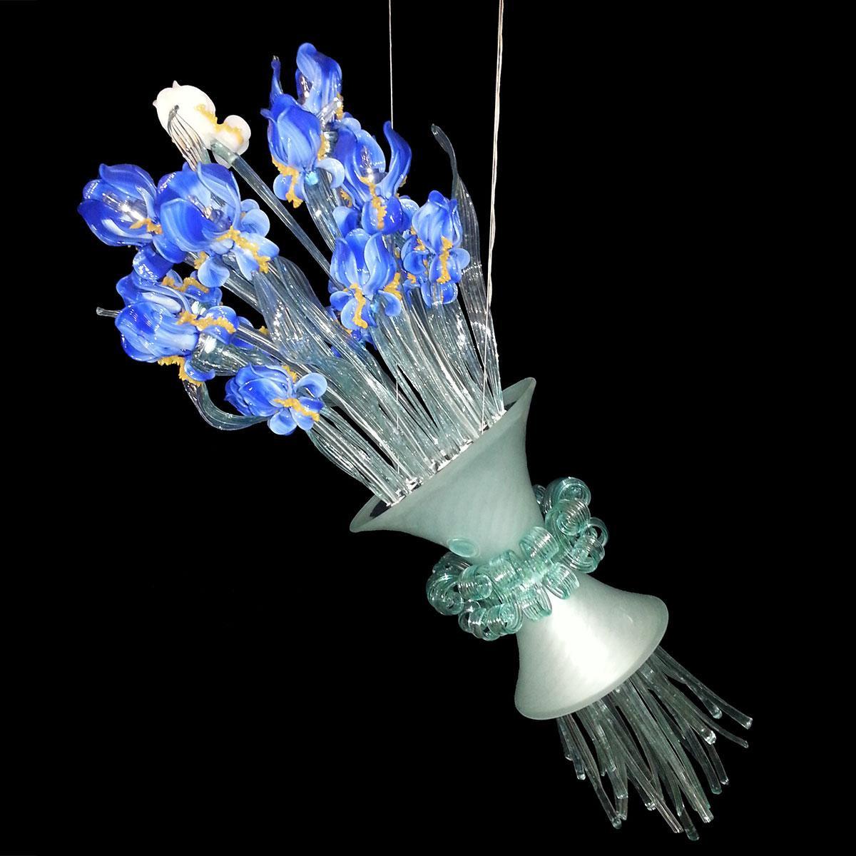 """Mazzo di Iris"" Murano glas Kronleuchter - 8 flammig - blau"