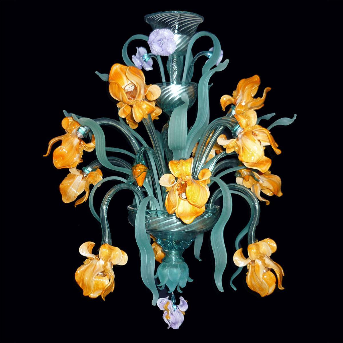 """Iris di Van Gogh"" petit lustre en verre de Murano - 12 lumières - jaune"