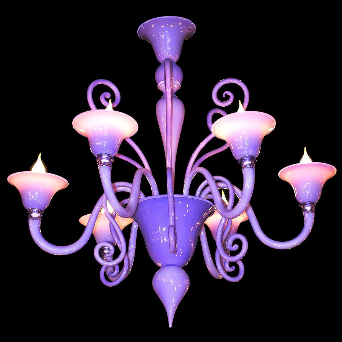 """""""Riccio Lilla"""" lampara de araña de Murano - 6 luces - rosa"""