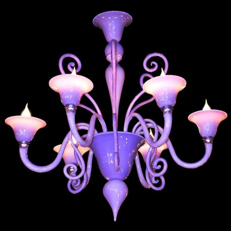 """Riccio Lilla"" Murano glass chandelier - 6 lights - pink"