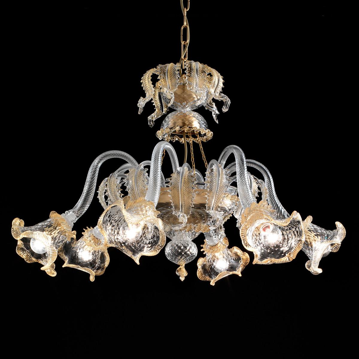 Canal Grande 6 lights basket shape Murano chandelier - transparent gold
