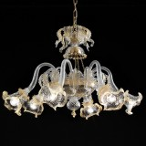 Canal Grande 6 lights basket shape Murano chandelier - transparent gold