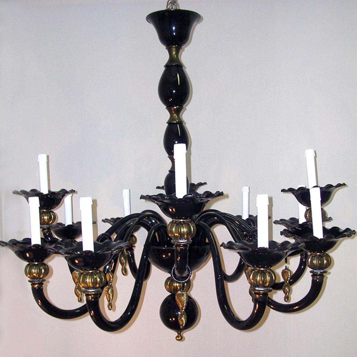 """""""Perla"""" lampara de araña de Murano - 12 luces - negro"""