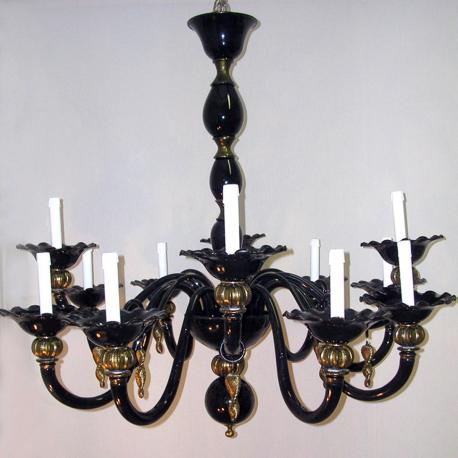 """Perla"" Murano glass chandelier - 12 lights - black"