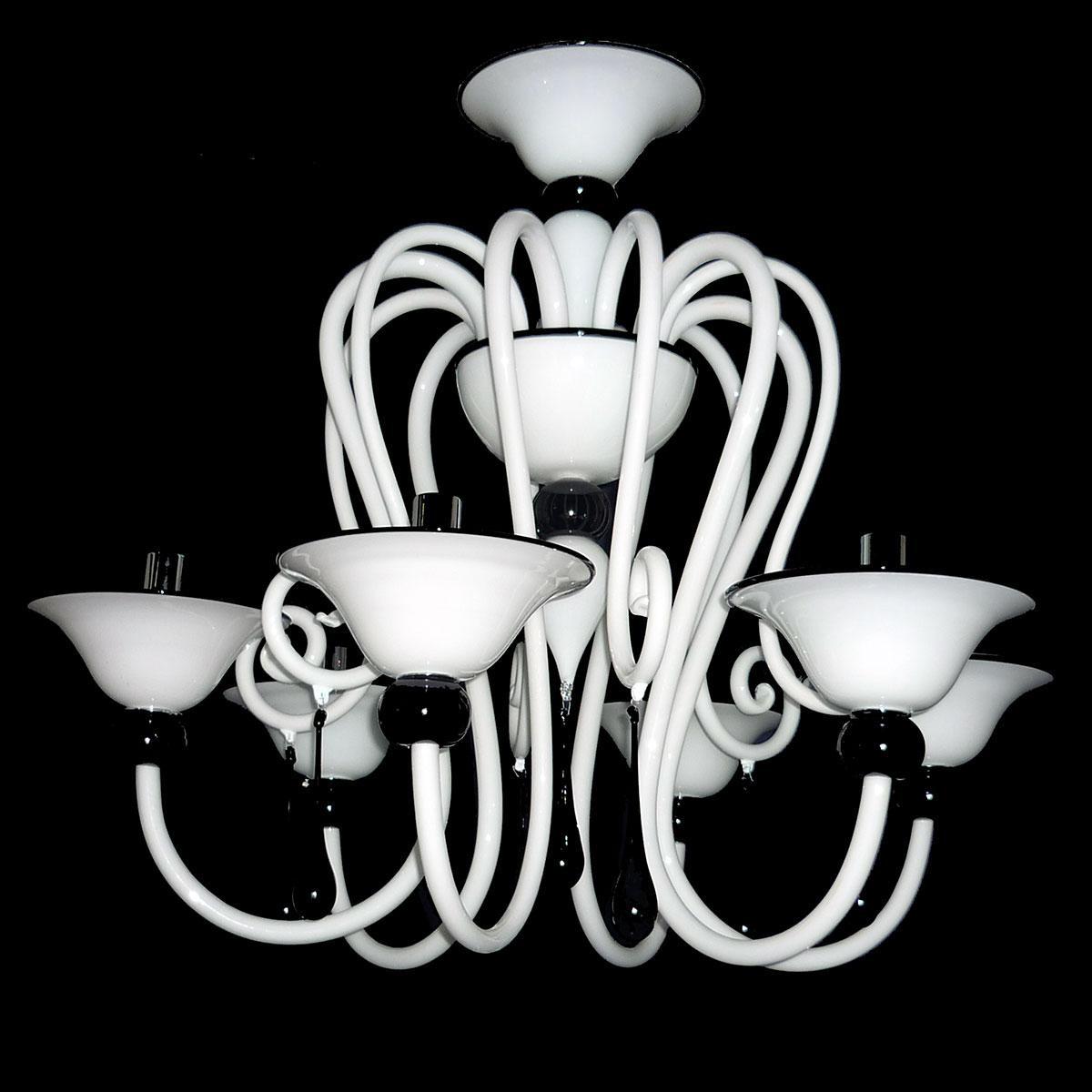 """""""Serpico"""" lustre en cristal de Murano - 6 lumières - blanc et noir"""