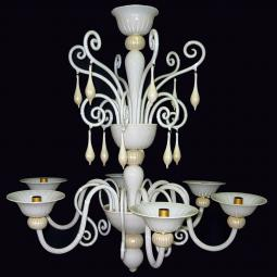"""Riccio Bianco"" Murano glass chandelier - 6 lights"