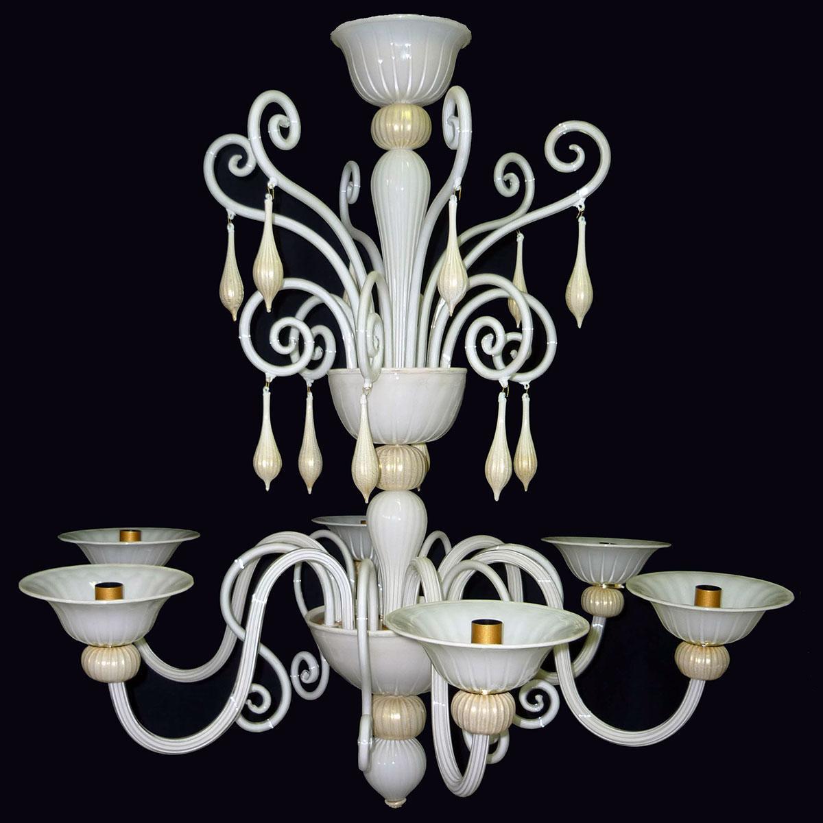 """""""Riccio Bianco"""" lampara de araña de Murano - 6 luces"""